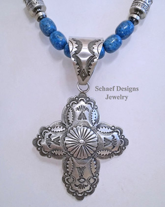 Vince Platero VJP Stamped sterling silver cross pendant | Schaef Designs | New Mexico