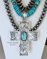Large Stamped VJP Sterling Silver & #8 Turquoise Cross Southwestern Pendant | Arizona