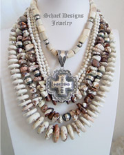 Schaef Designs Arizona Wildhorse nugget, Antler & White Buffalo Turquoise Necklace Pairings | New Mexico