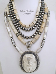 Schaef Designs Antler Wolf Maiden Antler & Sterling Silver Necklace Pairings | New Mexico