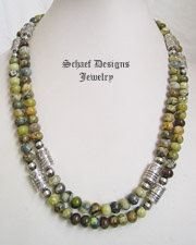 Schaef Designs Yellow Turquoise & Sterling Silver Tube Bead Necklace Set | New Mexico