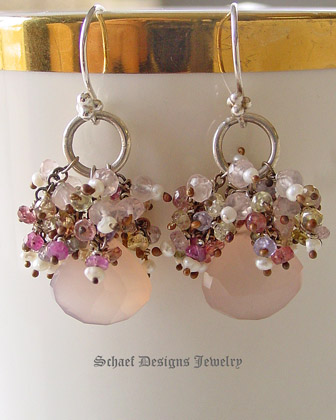 Schaef Designs pink chalcedony and sapphire gemstone earrings | New Mexico