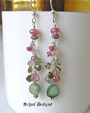 Watermelon tourmaline slices with shaded tourmaline rondelles & heart shaped briolettes  on sterling silver  | New Mexico