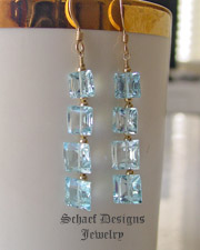 Schaef Designs Swiss Blue Topaz Square cut gemstones & 22kt gold vermeil dangle french wire earrings | New Mexico