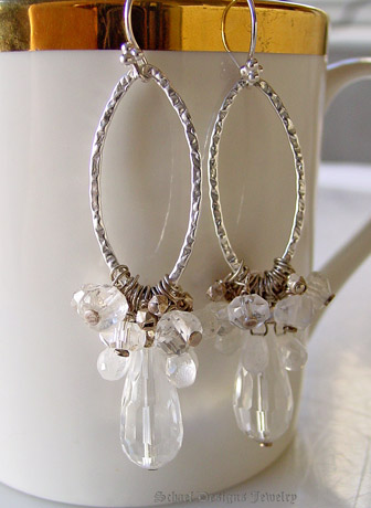 Schaef Designs Large Faceted Clear Crystal teardrops topped with sterling silver & moonstone & crystal nuggets and hammered silver link dangle earrings | New Mexico
