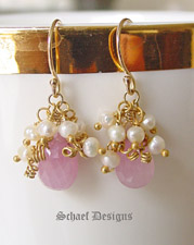 Schaef Designs Pink Sapphire Briolettes Seed Pearls and 24kt Gold Vermeil | New Mexico