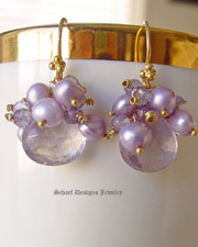 Schaef Designs Mystic Pink Amethyst Briolettes,  crowned with lavendar pearls & amethysts 22kt gold vermeil gemstone earrings | New Mexico