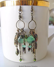 Schaef Designs Bronze peruvian opal & biwa pearl gemstone earrings | New Mexico