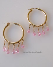 Schaef Designs Pink briolette cz & 22kt gold vermeil hoop Earrings | New Mexico