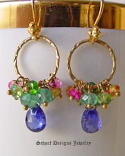 Schaef Designs Peridot apatite pink rubies citrine chrome diopside & tanzanite CZs gemstones on brushed gold 22kt gold vermeil ring & dangle earrings | New Mexico