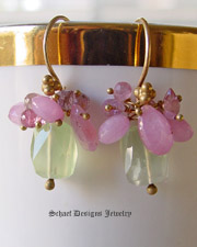 Schaef Designs Prehnite, Pink Sapphire, & 22kt Gold Vermeil earrings | New Mexico