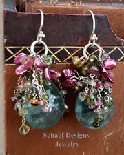 Schaef Designs Large Moss Aquamarine Briolettes topped with tendrils of shaded Tourmalines and Keishi Pearls | New Mexico