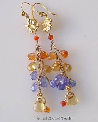 Schaef Designs Tanzanite Citrine Sesparite Briolettes paired with Carnelian & 22kt gold vermeil long dangle gemstone earrings | New Mexico