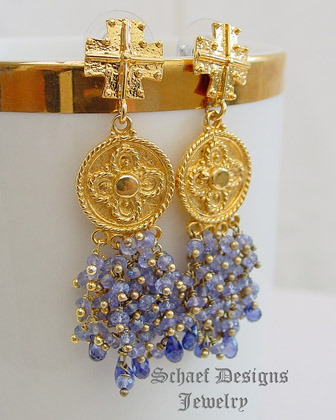 Schaef Designs artisan handcrafted tanzanite & gold vermeil waterfall post earrings | New Mexico