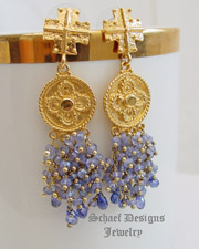 Schaef Designs Tanzanite, CZ & 22kt Gold Vermeil POST  Earrings | New Mexico