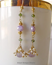 Schaef Designs Pink amethyst onion cut briolettes, green tourmalines, seed pearls & 22kt gold vermeil Long Dangle Earrings | Schaef Designs artisan handcrafted gemstone & pearl earrings | New Mexico