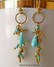 Schaef Designs Sleeping Beauty turquoise & 22kt gold vermeil Long Dangle Earrings | New Mexico