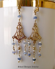 Schaef Designs Blue sapphires & white seed pearls on 22kt gold vermeil dangle Victorian style earrings |New Mexico