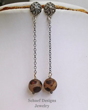 Schaef Designs Sterling Agate Glass & Silver Chain POST earrings | New Mexico