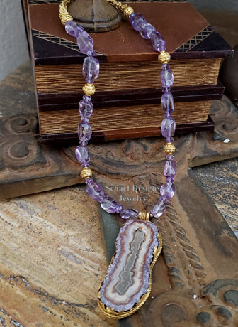 Schaef Designs Amethyst Slab & 24kt Gold Vermeil charm long necklace | New Mexico