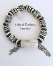 Schaef Designs Antler Trade Bead Sterling Silver Chain Bracelet | New Mexico