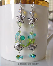 Schaef Designs Thai silver seashells and starfish, swarovski cyrstals, peridot & irridescent green leaf & sterling silver dangle beaches earrings | New Mexico