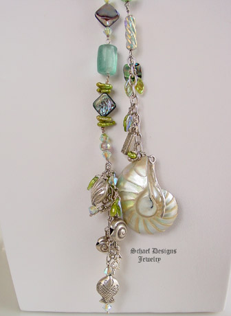 Schaef Designs necklace of sea glass, sterling silver, lime green freshwater pearls, Abalone, dichroic glass & tradding beads long lariat style necklace| New Mexico
