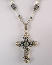 Schaef Designs Blue Topaz & Aquamarine Necklace with Blue Topaz & Silver Cross Pendant | New Mexico