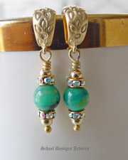 AAA Peruvian Opal & 22kt gold vermeil earrings | handcrafted gemstone jewelry | online jewelry boutique | Schaef Designs gemstone jewelry | New Mexico
