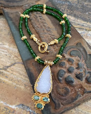 Schaef Designs Deep green chrome diopside, white druzy, & 24kt gold vermeil pendant on chrome diopside necklace | New Mexico