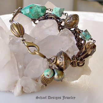 Schaef Designs Chrysocolla Smokey Topaz Nuggets Large olive freshwater pearls bronze chains & beads multi strand bracelet | New Mexico
