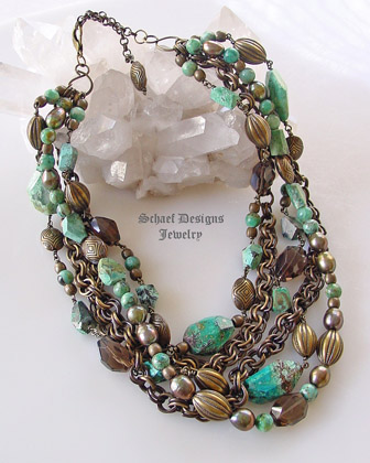 Schaef Designs Chrysocolla Smokey Topaz Nuggets Large olive freshwater pearls bronze chains & beads multi strand necklace | New Mexico