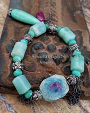 Schaef Designs Ruby in Zoisite Chrysoprase Ruby Sterling Silver Bracelet | New Mexico