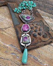 Schaef Designs Chrysoprase, Ruby & Sterling Silver Pendant & Chain Necklace | New Mexico