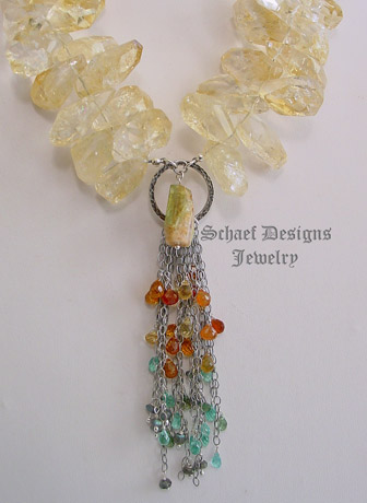 Schaef Designs Citrine nugget, gemstone waterfall, & sterling silver necklace | New Mexico