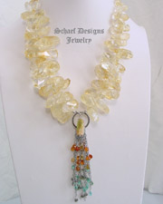Schaef Designs Citrine Apatite Sapphire & Sterling Silver Necklace | New Mexico
