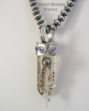 Schaef Designs Citrine Crystal Point Tahitian Pearl Herkimer Diamonds & Sterling Silver Pendant | New Mexico