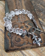 Schaef Designs Clear Crystal Nugget & Sterling Silver Bracelet with Fleur de Lis Charm | New Mexico