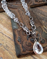 Schaef Designs artisan handcrafted faceted Clear Quartz Nuggets & Sterling Silver fleur de lis gemstone Necklace with Large solataire White Topaz pendant | New Mexico