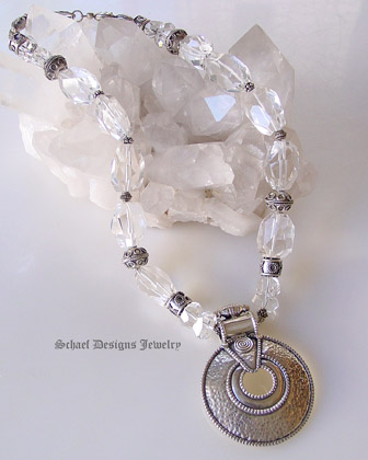 Schaef Designs Clear quartz & sterling silver necklace with large round hammered sterling silver pendant | New Mexico