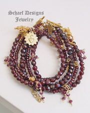 Schaef Designs Gemstone stacking bracelets garnet & 22kt gold vermeil | New Mexico