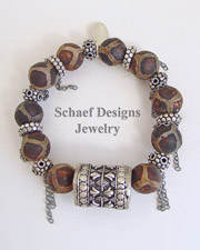 Schaef Designs Agate Glass & Sterling Silver Chain Bracelet | New Mexico