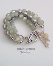 Schaef Designs Pearl Moonstone Hematite & Sterling Silver 5 Strand Bracelet  | Gwen Stefani inspired | Schaef Designs gemstone jewelry | online jewelry boutique | New Mexico