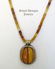 Schaef Designs Vintage Amber Pendant on Hessonite & Sterling Silver Necklace | New Mexico