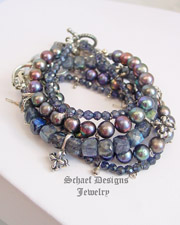 Schaef Designs gemstone iolite, peacock pearl, & sterling silver stacking bracelets | New Mexico