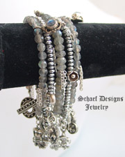 Schaef Designs gemstone labradorite, hematite, & sterling silver stacking bracelets | New Mexico
