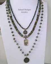 Schaef Designs Hand Linked Labradorite Sterling Silver & Coin Necklace | New Mexico