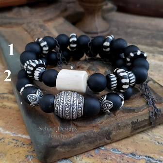 Schaef Designs Matte Black Agate Marcasite Antler & Striped Beads Stacking Bracelets | New Mexico