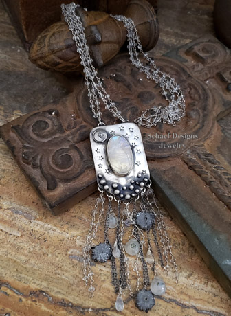 Schaef Designs moonstone, geode slice, crystal & sterling silver necklace | New Mexico