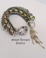 Schaef Designs Gemstone pyrite, olive pearl, & sterling silver stacking bracelets | New Mexico